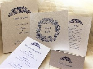 Blue Botanical Wedding Stationery