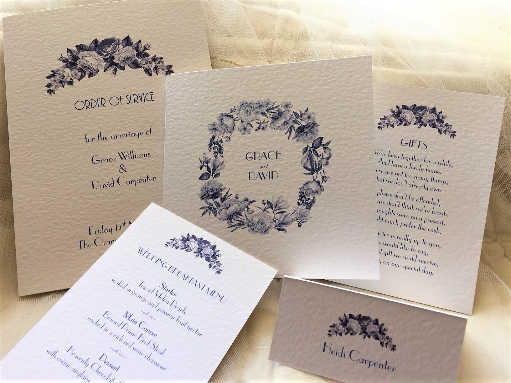 Blue Botanical Wedding Invitations