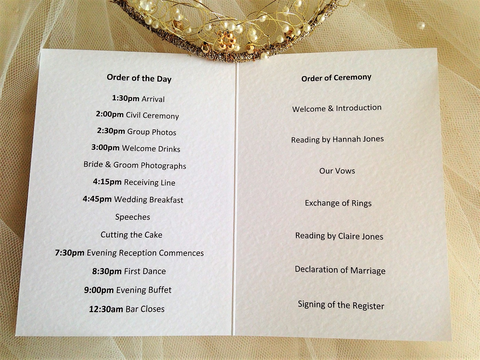 Blue Botanical Wedding Order of Service Books