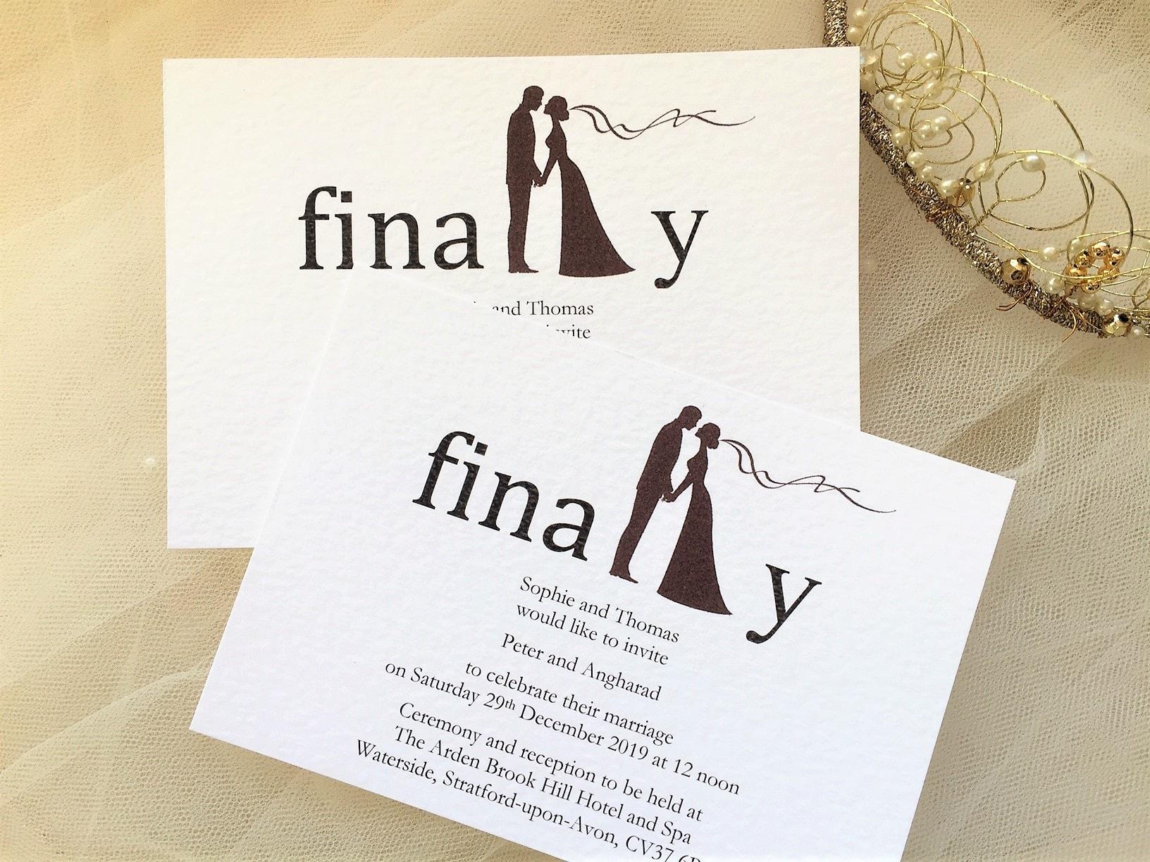 Modern Wedding Invites Uk: Finally Postcard Wedding Invitations 80p Each