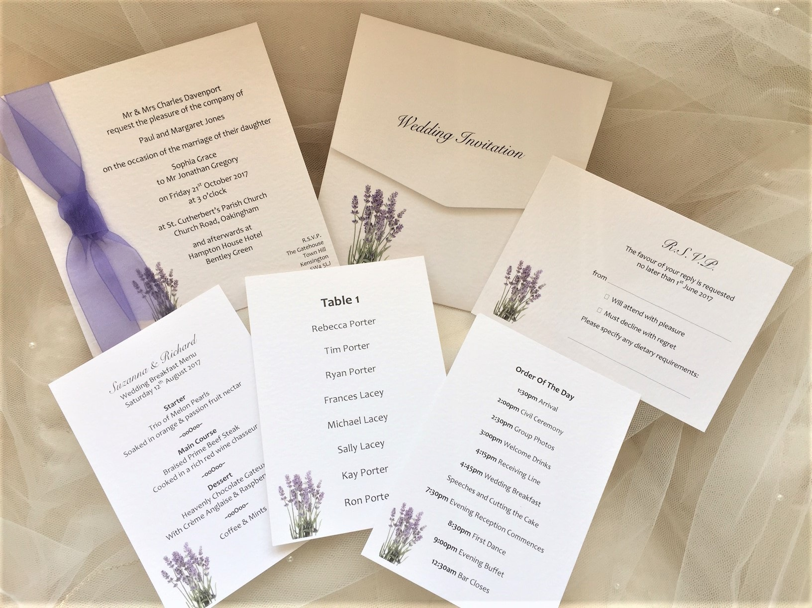 Lavender Wedding Stationery Range