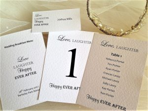 Place Cards, Menus & Table Plans