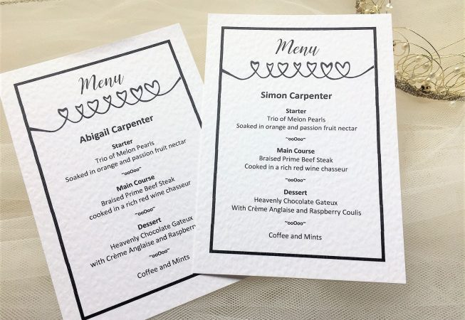 Linked Hearts Personalised Menu