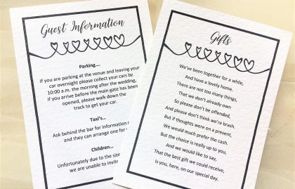Linked Hearts Guest Information Cards