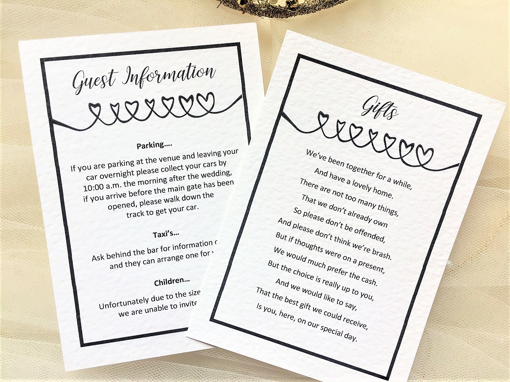 Linked Heart Guest Information Cards