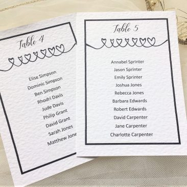 Linked Hearts Table Plan Cards
