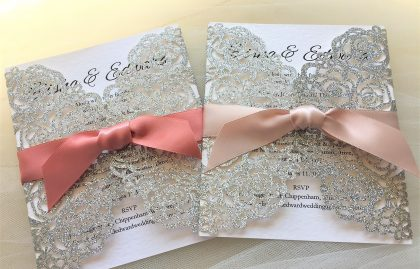 Silver Rose Laser Cut Glitter Wedding Invitations
