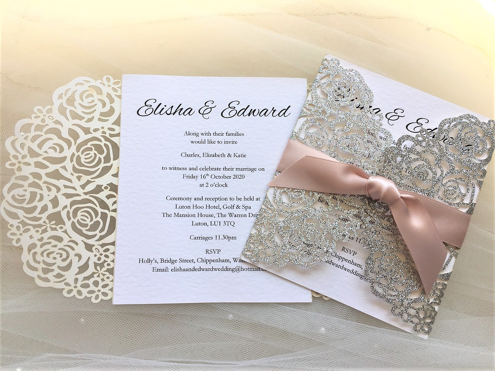 Laser Cut Glitter Wedding Invitations