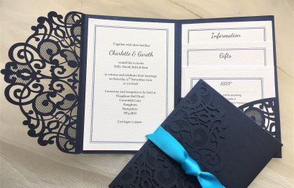 Navy Blue Laser Cut Pocketfold Wedding Invitations
