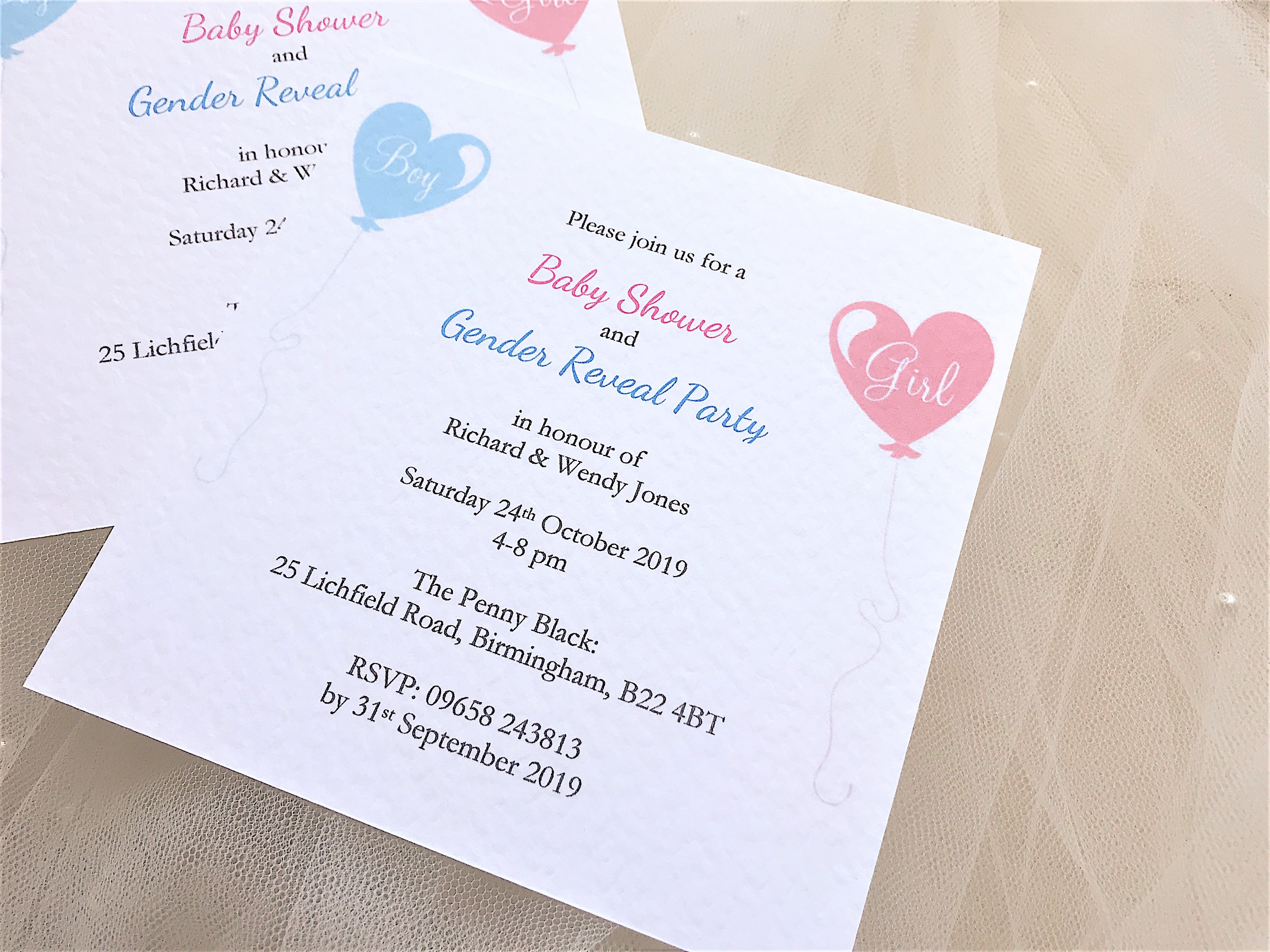 baby shower and gender reveal invitations  u00a31 10 each
