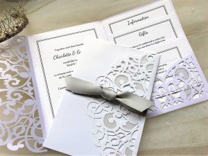 Silver Laser Cut Pocketfold Wedding Invitations