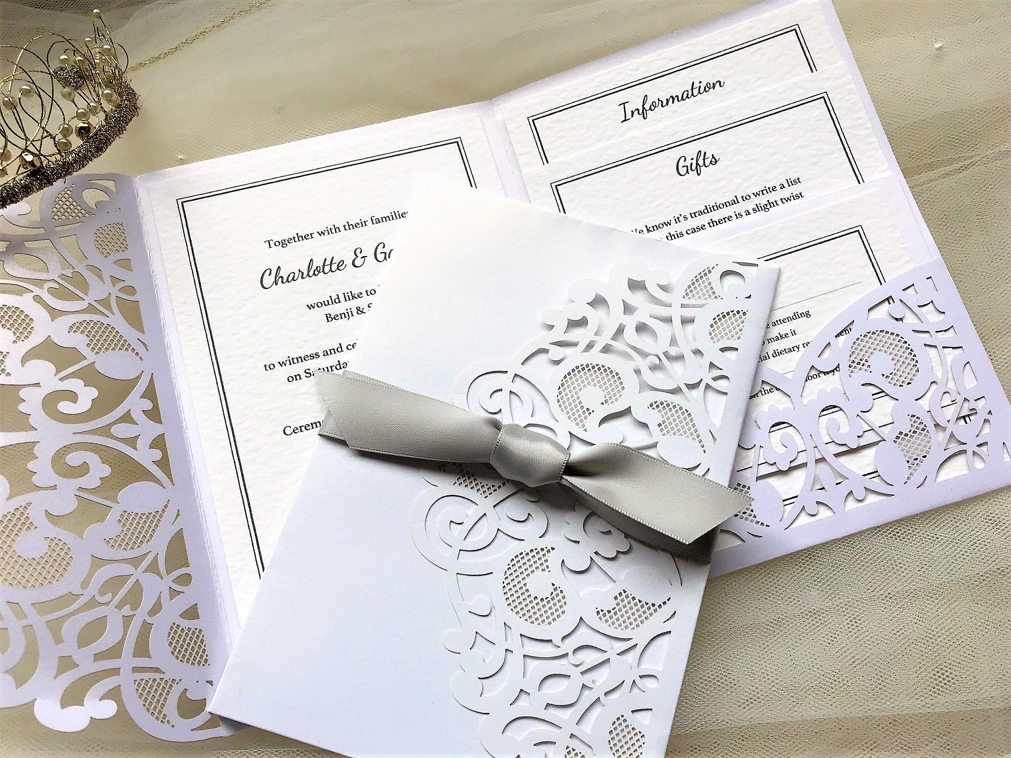 Silver Laser Cut Pocketfold Wedding Invitations