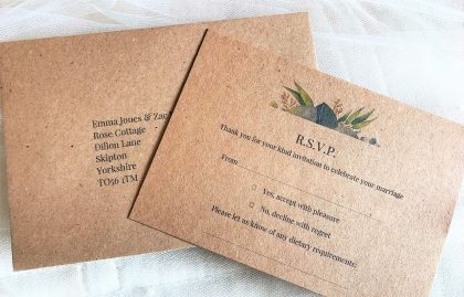 Autumn Leaf RSVP cards and envelopes