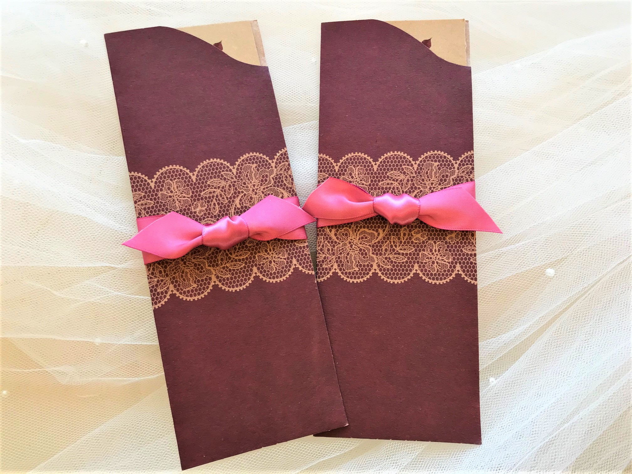 Burgundy Pocket Wedding Invites