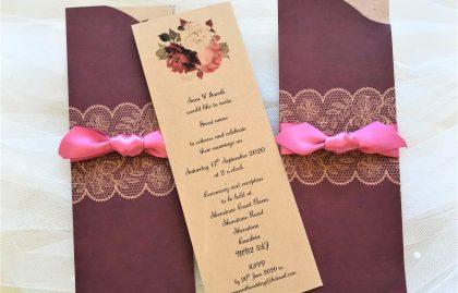 Burgundy Pocket Wedding Invites
