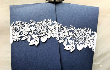 Navy Blue Pocketfold Invites with Laser Cut Belly Band LIMITED STOCK