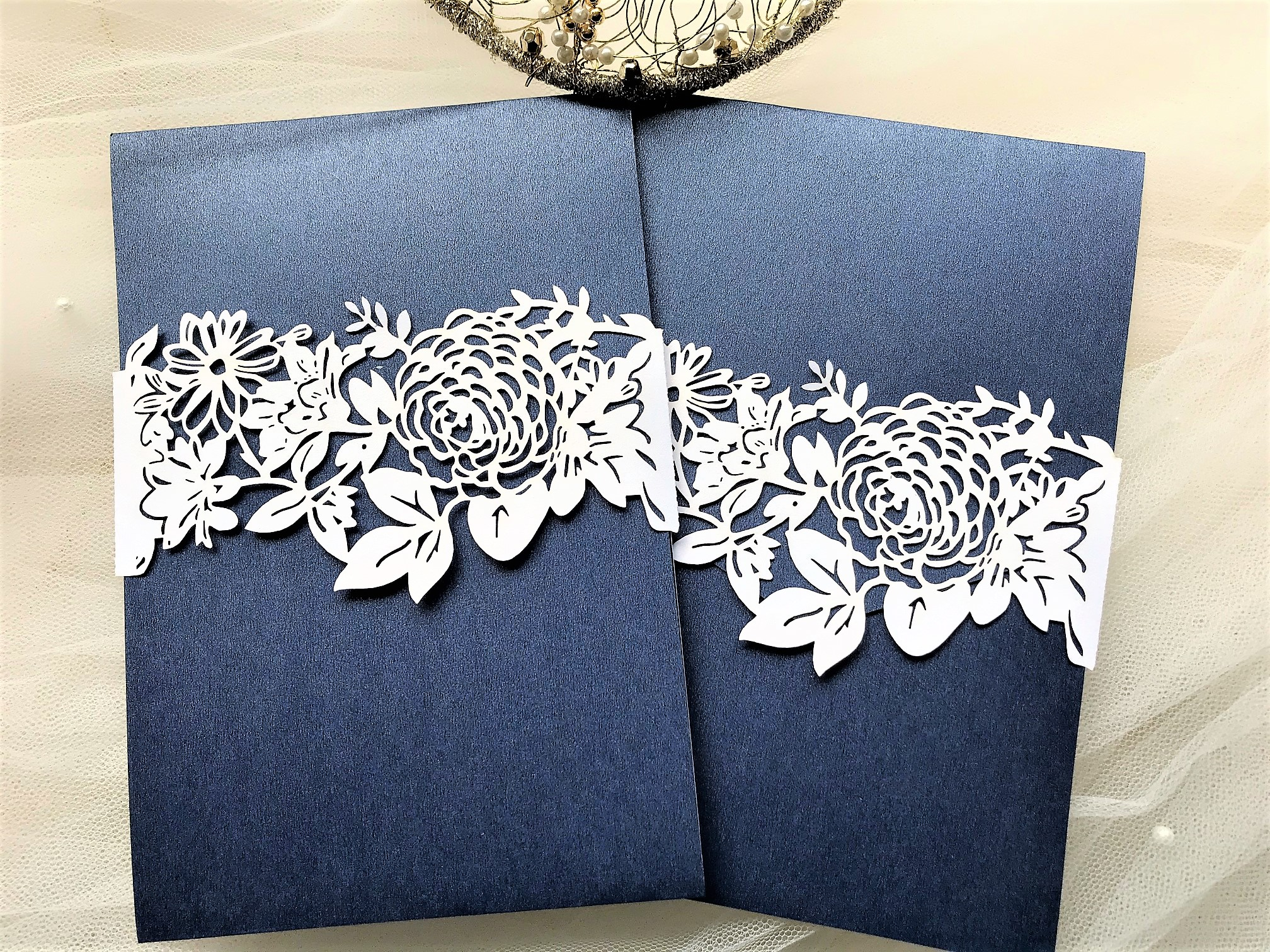 Navy Blue Pocketfold Invites with Laser Cut Belly Band