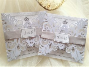 Silver Laser Cut Wedding Invites 3