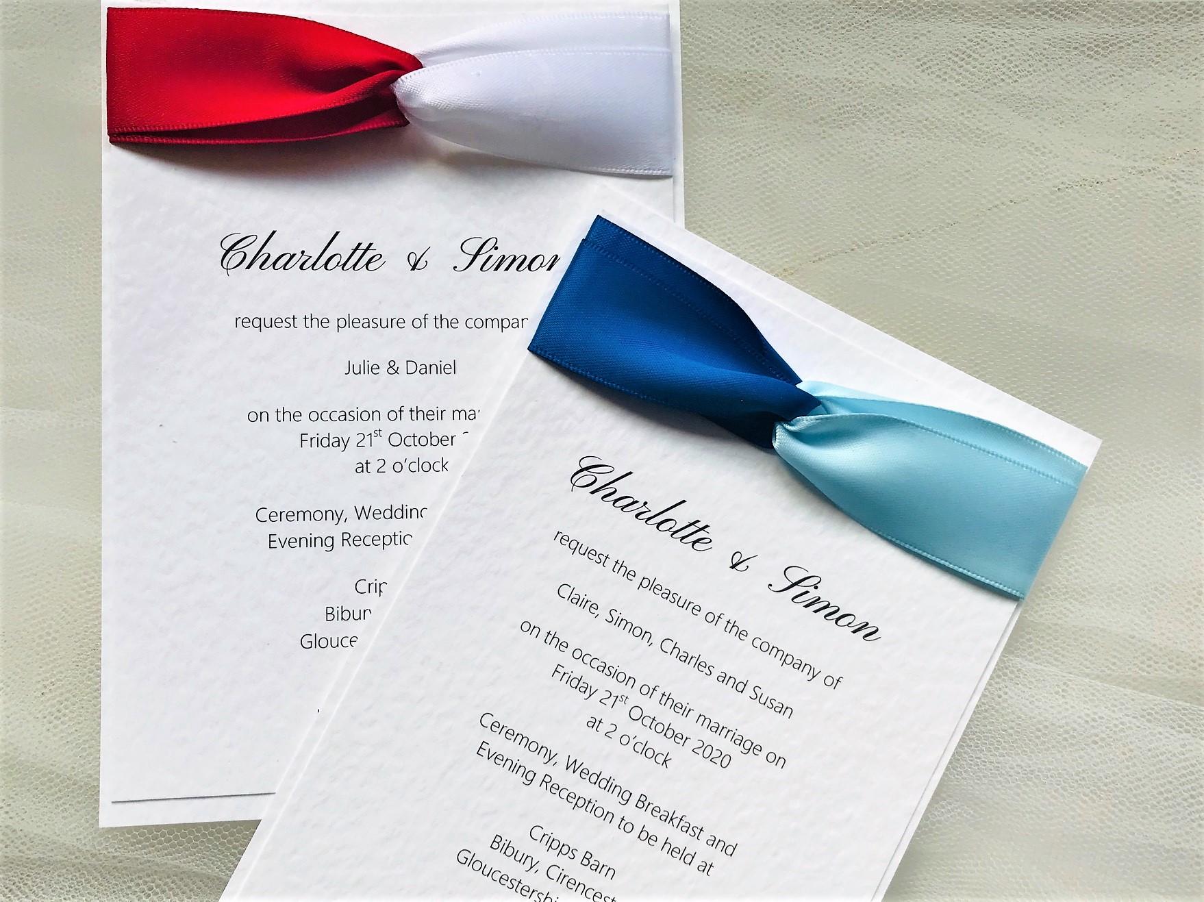 Two Tone Satin Wedding Invitations