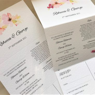 Floral Concertina Wedding Invitations