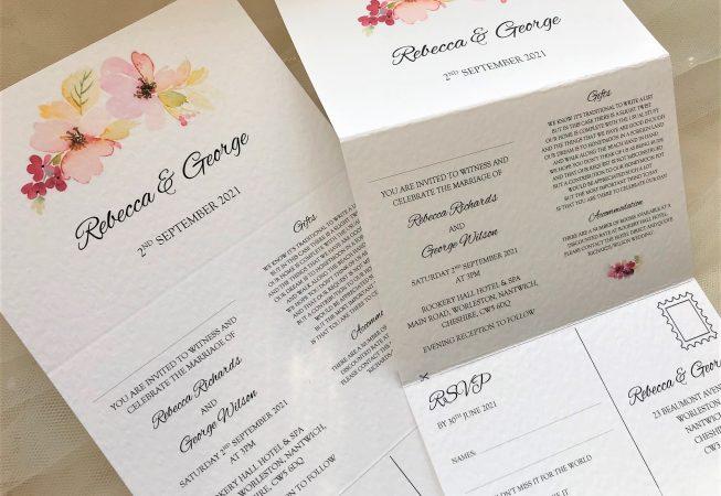 Floral Concertina Wedding Invitations