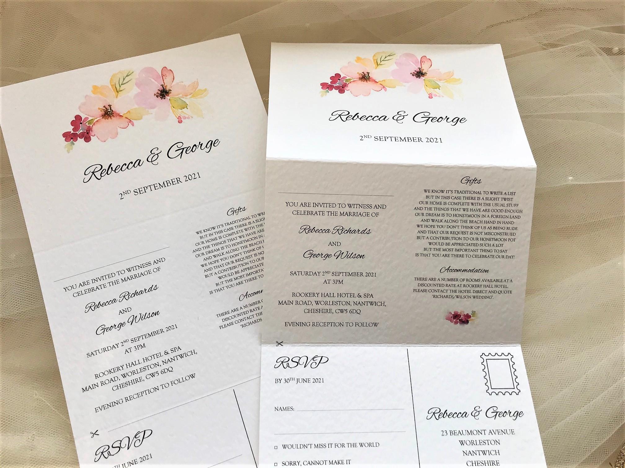 Floral ConConcertina Wedding Invitations