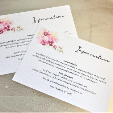 Oriental Orchid Guest Information Cards