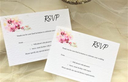 Oriental Orchid RSVP cards and envelopes