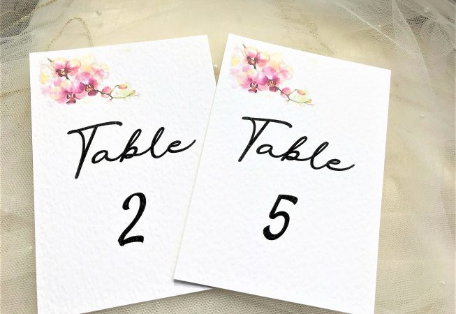 Oriental Orchid Table Number and Name Cards