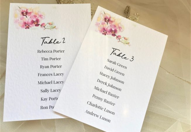 Oriental Orchid Table Plan Cards