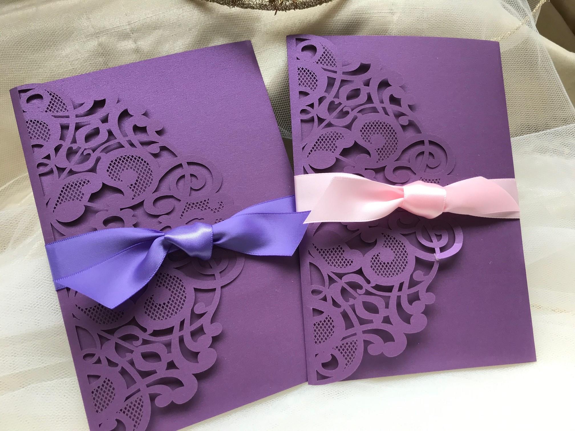 Purple Laser Cut Pocketfold Wedding Invitations