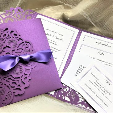 Purple Laser Cut Pocketfold Wedding Invitations