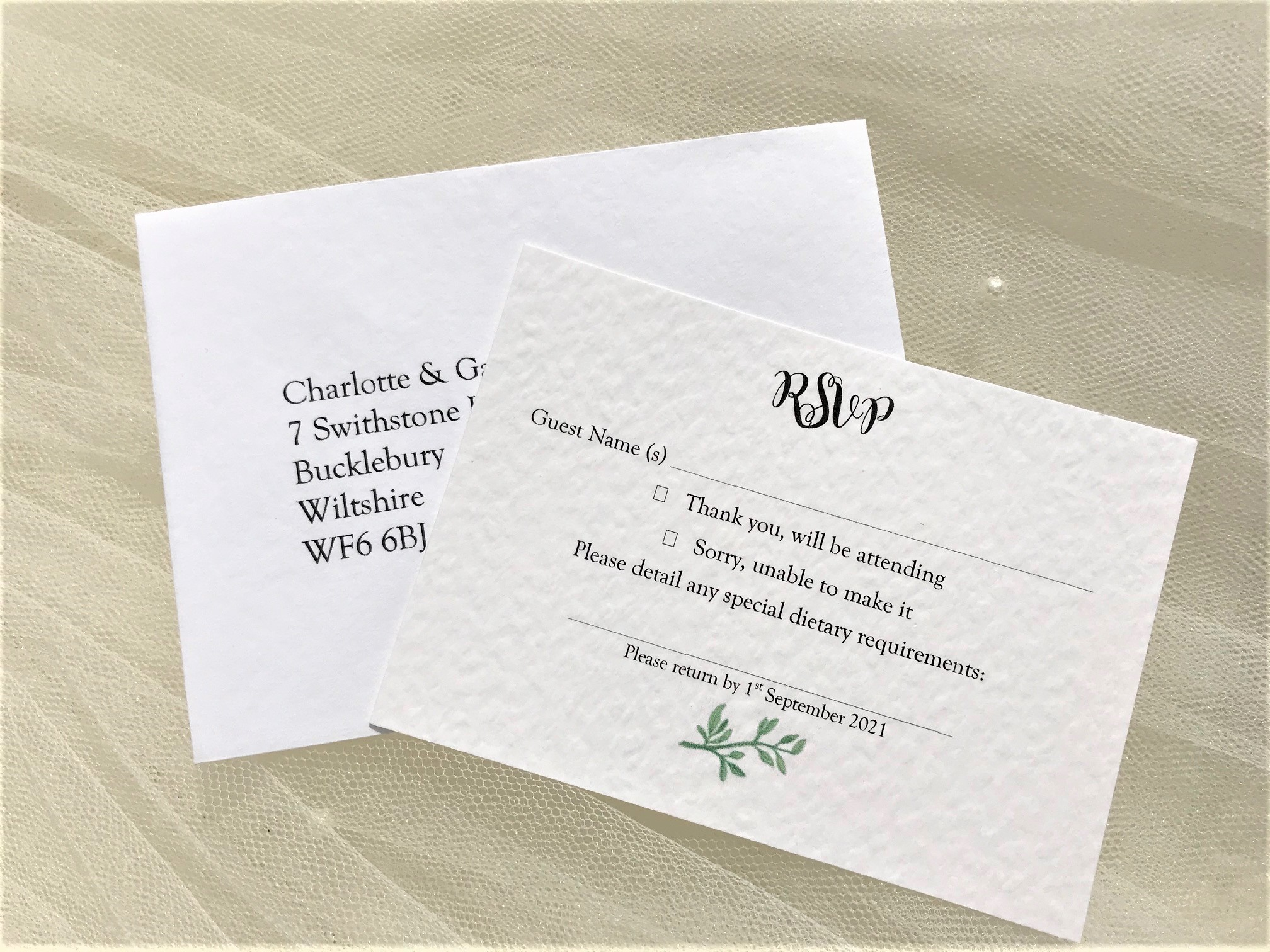 Woodland Fern RSVP cards and envelopes
