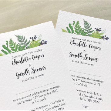 Woodland Fern Postcard Invites