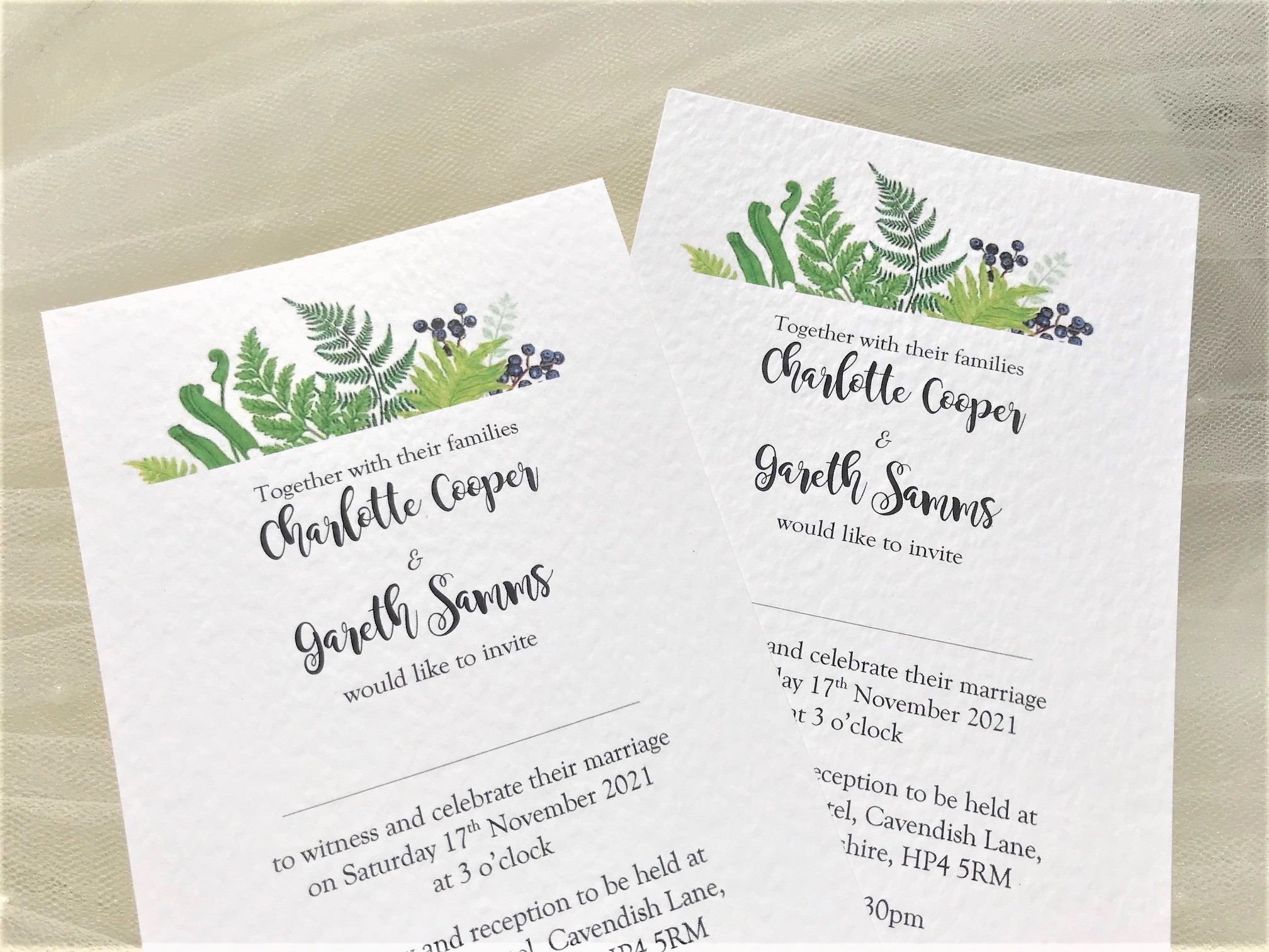 woodland fern postcard wedding invites 80p  free guest