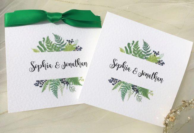 Woodland Fern Pocketfold Wedding Invitation