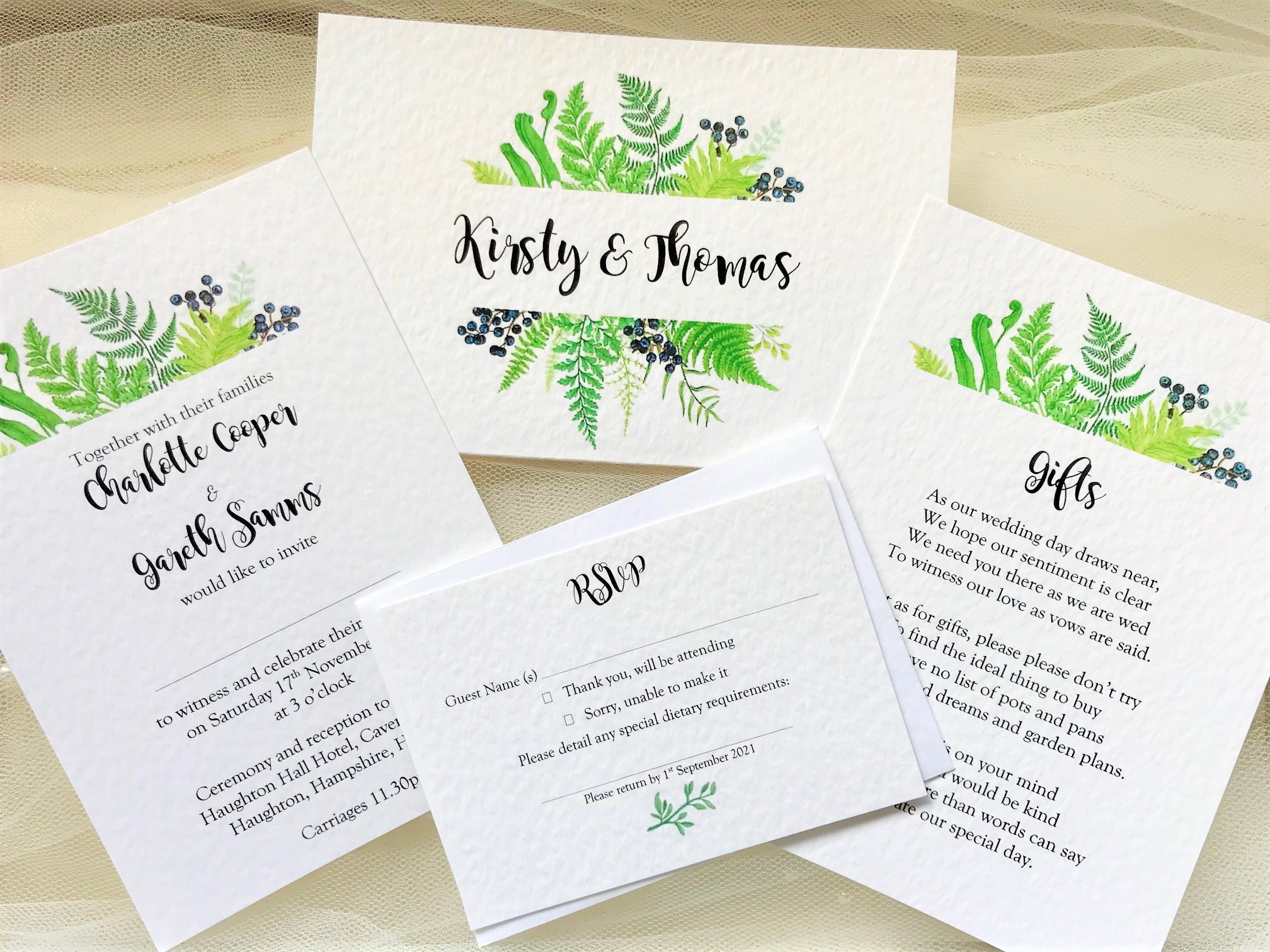 Woodland Fern Wedding Stationery