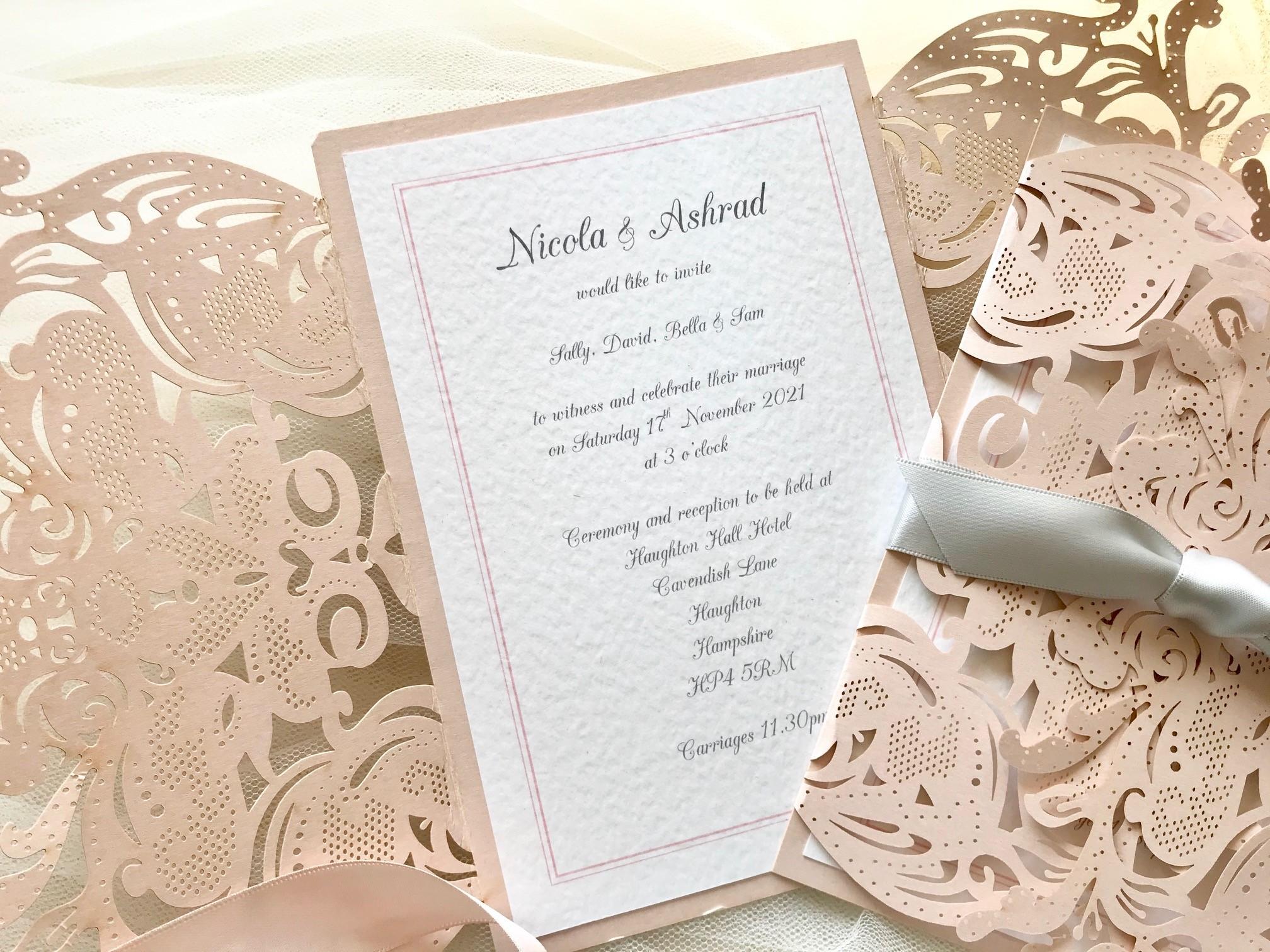 Blush Champagne Laser Cut Wedding Invitations