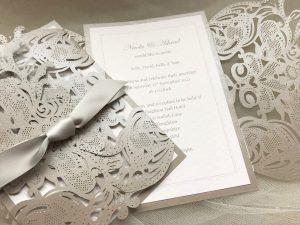 Grey Laser Cut Wedding Invitations