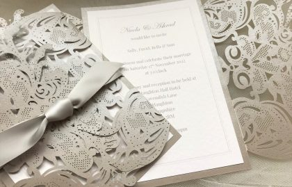 Grey Laser Cut Wedding Invitations