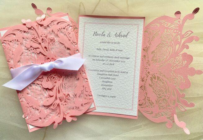 Pink Laser Cut Wedding Invitations