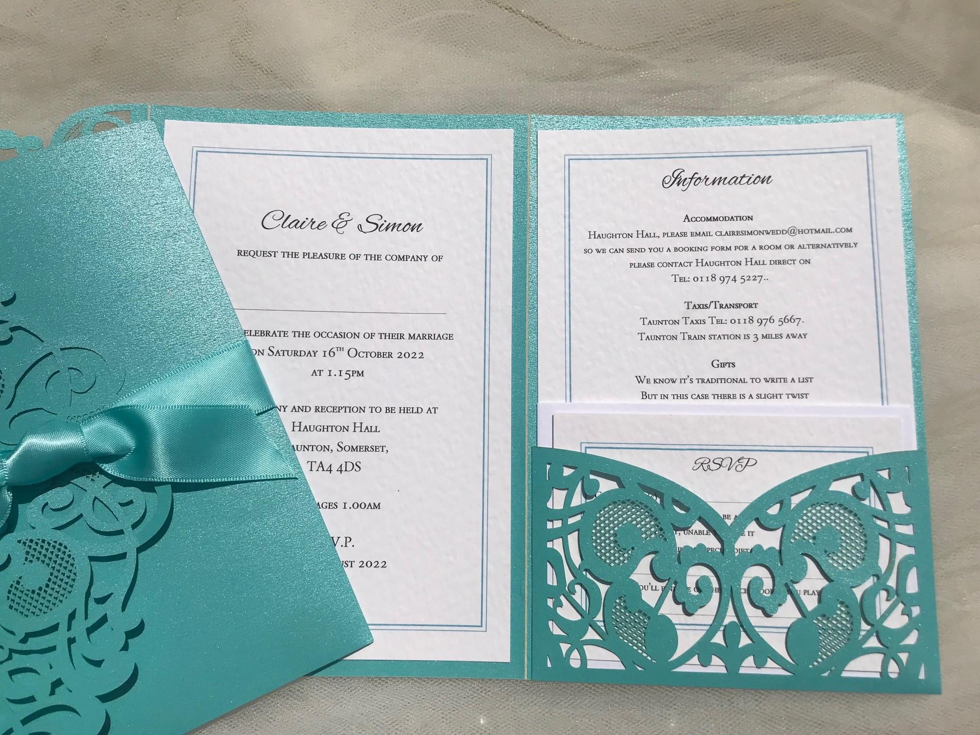 Aqua Green Laser Cut Pocketfold Wedding Invitations